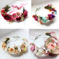 Wholesale Hair Styles Photos - Girls Wreath garland Bohemian Style Floral wedding decoration beach photography photo Hair accessories Children headdress C2284