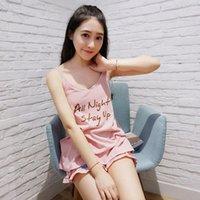 Wholesale Hot Nightwear For Women - Wholesale- 2017 Hot Casual Women Pink Pajamas Set Letter Printing O-Neck Strap Pyjamas For Women Summer Nightwear Modal Cotton Sleep Suit