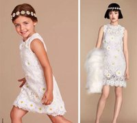 Wholesale Korean Girls Straight Dress - Children Girls White Dress Princess Lace Flower Sleeveless Korean Style Big Girl Clothing Baby Kids Dress