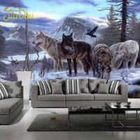 Wholesale Wood Wolf - Wholesale-Custom Any Size 3D Wall Murals Wallpapers Living Room Bedroom Sofa TV Background Wall Paper Wolf Totem Animal Photo Wallpaper