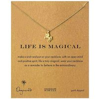 Wholesale Cards Life - Dogeared Choker Necklaces with Card Gold Silver Unicorn Pendant Necklace For Fashion women Jewelry LIFE IS MAGICAL