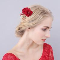 Wholesale Red Rose Hair Flower Wedding - beijia Handmade Red Rose Flower Wedding Prom Hair Comb Crystal Bridal Accessories Women Hair Jewelry