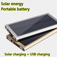 Wholesale Thin Smart Mobile Phones - Outdoors Ultra thin Solar Charging Portable Battery 20000mah Universal mobile Power Bank Supply Fast Dual USB charger for All Smart phones