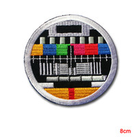 Retro TV Test Patch Iron on Vintage Biker Television Sew Badge DIY Segnale televisivo classico ricamato