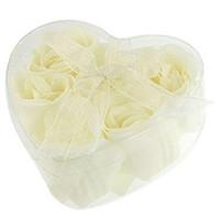 Wholesale Wholesale Bathing Soap - Wholesale- Bathing Shower Off ball sponge White 6 Pcs Rose Flowers Bath Soap Petals w Heart Shaped Box