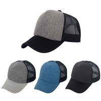 Wholesale Trucker Hat Style Men - Hot Style Retro Classic Plain Polyester Front Trucker Mesh Hats Blank Baseball Cap Men Women Spring Summer Autumn Custom Logo Made 4 Colors