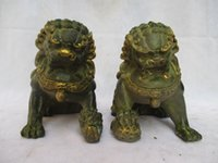 Wholesale Bronze Foo Dogs - High:16CM !!!Collectible 1 Pair Of Chinese Old Bronze Carved Gold gilt Fu Foo Dog Sculpture  Antique Metal statue