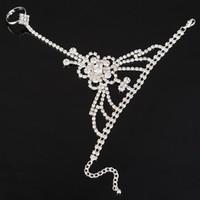 Wholesale Slave Jewelry Wholesale - New Arrival Rhinestone Crystal Chain Bracelet Wedding Bridal Jewelry Womens Rhinestone Bracelets with Finger Ring Slave Chain Wholesale