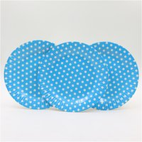 Wholesale Blue Paper Plate - Wholesale-paper plates dish 8pcs lot blue polka dot theme party disposable supplies 7''inches for boy happy birthday party decoration
