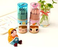 Wholesale Art Boxes For Children - Kawaii Mini 12 Color Small Pencil Drawing Pen For Six One Children 's Day Festivals Gift Event Prizes