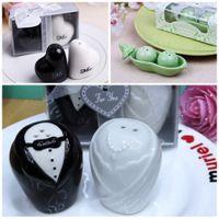 Wholesale Mr Salt Pepper - Lovely Seasoning Bottles Ceramics Bride And Groom Dress Peas Heart Mr Mrs Design Caster Resuable Pepper Shakers Wedding Giveaways 3 2cd4 B