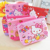 merhaba kanvas toptan satış-Toptan-1 adet Yeni güzel hello kitty tuval kız sikke çanta çocuk değişim çanta, bayan öğrenciler çocuk keycosmetic tutucu para çantası 048