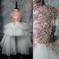 Wholesale Girls Vest Fur Collar - Luxury Handmade Beaded Flower Girls Dress for Weddings Vintage Tiered Tulle Skirt 2017 Pretty Formal Girls Gowns Pageant Dress Real Image