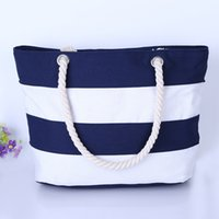 Wholesale Stripe Canvas Tote Beach Bags - Wholesale Women Beach Canvas Bag Fashion Color Stripes Printing Handbags Ladies Large Shoulder Bag Totes Casual Shopping Bags