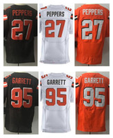 Wholesale Elite American Football Jerseys - Men's 23 Joe Haden 27 Jabrill Peppers 95 Myles Garrett Orange Brown White Elite American Football Jersey Top Quality