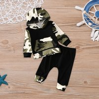 Wholesale Camouflage Pants For Kids - New Arrival Boys Outfits Sets camouflage Long Sleeve Hooded Tops + Pants 2pcs Sets Kids Suits Outwear Clothing Sets For Baby Boy