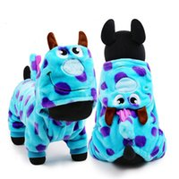 Wholesale Male Dragon Clothing - Free shipping pet clothing blue dragon warm jumpsuit dog hoodies cat dog clothes in Winter hot sale