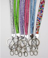 Wholesale Neck Lanyards Clasps - 50pcs Bling Lanyard Crystal Rhinestone in Neck With Claw Clasp ID Badge Holder with job card usually cannot choose