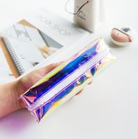 Plastic Pencil Bag Yes Laser Pen Bags Girl School Bag Women Rainbow Colorful Metallic Silver Laser Holographic Zipper Pencil Case