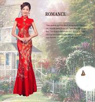 vestidos de bordado chino al por mayor-Buen precio! Real clásico rojo chino bordado cheongsam Dragon Phoenix imagen sirena vestido de novia, fiesta de la dama vestido largo de fiesta de noche