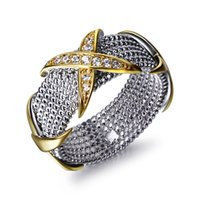 Wholesale Bright Design - Trendy 2 tone plate ring Cross design with stunning bright CZ crystal bague femme anel fashion rings for women