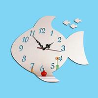 Wholesale Fish Surfaces - DIY Big Fish Mirrors Surface Wall Clocks Round Circle Fish Digital Modern Design 3D Watch Mirror alarm Clocks Home Decor For Kids