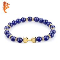 Wholesale Lapis Lazuli Gold Bracelet - BELAWANG Mens Bracelet Flexible Gold Plated Dumbbell Charm Bracelet Natural Stones&Lapis Lazuli Beads Bracelet Fashion Anniversary Gift