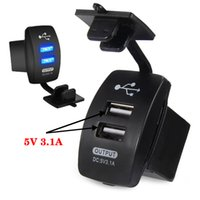 Wholesale Motor Port - Wholesale- Motorcycle Car 2Dual USB Port Power Adapter Supply Motor 3.1A 5V Charger Socket US PLUG 12V-24V Blue Light for Iphone Phone GPS