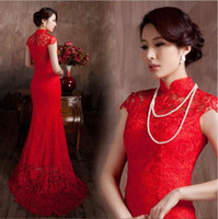 Wholesale Red Chinese Wedding Dress - Lace Material Red Color Luxury Chinese Traditional Wedding Dress Qipao Mermaid Wedding Dress 2016 mermaid wedding dress Vestido De Noiva