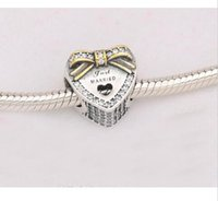 Wholesale 925 Sterling Silver Bracelet Bow - Newest beads DIY100% 925 Sterling Silver gold plated bow with cz heart just married charm fit pandora Bracelet Women Jewelry 2017 style