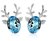 Wholesale Deer Earring - Christmas deer earring crystal charming earrings free shipping
