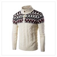 Wholesale Turtle Neck Stand Collar - Men's Sweaters Autumn&winter Fashion Stand Collar Set Head National Wind Embroidery Men's Casual Thicken Sweaters US Size:XS-L