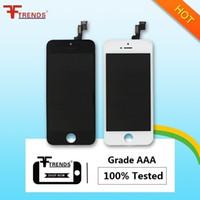apple iphone menor preço venda por atacado-Grau aaa para iphone 5 5c 5s se display lcd touch screen digitador assembléia completa com fone de ouvido anti-poeira malha livre instalado menor preço