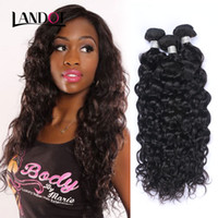 Wholesale 28 Water Wave Hair Extension - Brazilian Peruvian Indian Malaysian Mongolian Water Wave Virgin Human Hair Weave Bundles Brazilian Wet And Wavy Curly Remy Hair Extensions