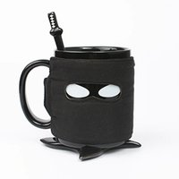 Wholesale Personalized Ninja Style Ceramic Mug with Removable Adiabatic Band with Cup Mats and Stirring Spoon Pottery Coffee Cup Office