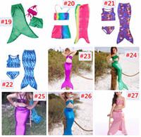 Wholesale Two Piece Swimsuit 4t - Girls Mermaid Tail Bikini Suit Kids INS Swimmable Mermaid Fins Swimsuit Swimming Costume Bathing Suit 30Designs choose free fedex ups ship