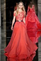 Wholesale Chiffon Couture Red Evening Gown - Red Zuhair Murad Chiffon Evening Dresses 2017 Sheer Neck Lace Applique Beaded Short Sleeve See Through Prom Gowns Haute Couture Dress