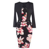 Wholesale Chiffon Floral Short Coat - Fake 2 Pieces Office Lady Style Sprint Hip Package Dresses Wholesale European and American star with Coat Skirt