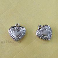 Wholesale Stainless Stell Charms - HOT 10pcs small pendant stereoscopic heart Stainless stell DIY jewelry find