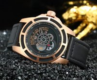 Fashion case concept - New Style Ancon X Concept Rotor Self Winding Carbon Automatic Rose Gold Case Leather Strap Mens Watch