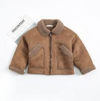 Wholesale Kids Wool Jackets - New Autumn Winter Baby Boys Coat Kids Faux Lamb Wool Warm Coat Baby Boy Children Outwear Zipper Jacket Coats Brown 13608