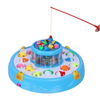 Wholesale Electric Music Rotating - Wholesale-Kids toys Double Fish Pool Electric Rotating Magnetic Fishing Game with the Music & Light Christmas Toy Gift