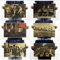 Wholesale Stickers For Craft - In The '60 s Retro Nostalgia Kraft Paper Posters, Family Decorates A Poster,Paper Crafts Vintage Poster Wall Sticker 5pcs lot