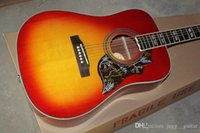 Wholesale guitar cherry hollow for sale - Group buy Spruce Top Inches Humming Cherry Sunburst Vintage Acoustic Electric Guitar Split Parallelogram Inlay Red Pickguard Fishman Pickups