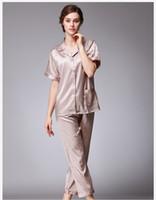 Wholesale Collar Lingerie - Satin pajama sets pyjamas women sexy lingerie silk pajamas for women short sleeve woman sleepwear leopard print SJYT99