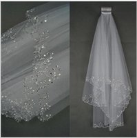 Wholesale Ivory Beaded Wedding Veils - 2016 Wedding Veils Wedding Bridal Veil 2 Layer Handmade Beaded Crescent edge Bridal Accessories Veil White and Ivory color AOP--008