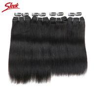 Wholesale Brazilian Yaki Hair 1b - Rebecca Brazilian Virgin Yaki Straight 4 Bundles Set 100% Human Hair Extensions Natural Black Color 1B 190G Free Shipping Sleek Brand