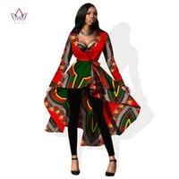 Wholesale Long Womens Dress Coats - Autumn African Dresses for Women Trench Women Long Sleeve Maxi Outwear Trench Coat Womens Dashikis Brand Clothing 6XL WY596