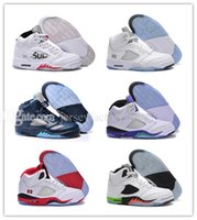 Langue Pas Cher Pas Cher-Cheap New Retro 5 V Olympic OG metallic Gold Tongue Man Basketball Chaussures Noir Metallic bleu rouge Suede Fire Red Sport Sneakers taille 41-47
