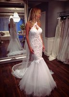 Wholesale elegant halter lace wedding dress online - Elegant Halter Neck Mermaid Wedding Dresses Appliques Button Back Tulle Bridal Gown Bridal Wedding Gowns Vestido De Novia
